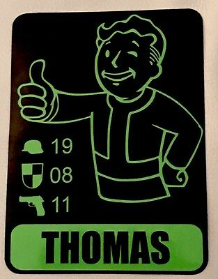 Fallout Personalised Name And Birthday Details Sticker / Decal
