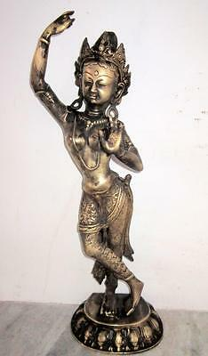 Antique Old Rare Hand Engraved Brass South Indian Goddess Meenakshi Big Statue