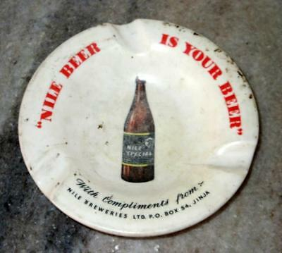 Vintage Old Collectible Rare Nile Beer Ad Ceramic Ash & Tray, Made In England