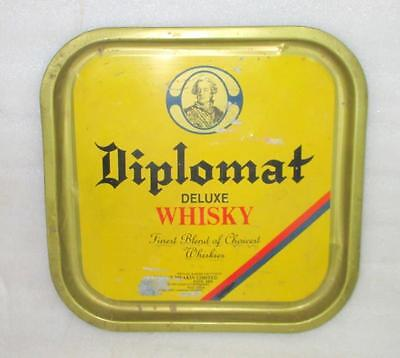 Vintage Old Collectible Diplomat Deluxe Whisky Ad Litho Tin Tray India ADV ESH