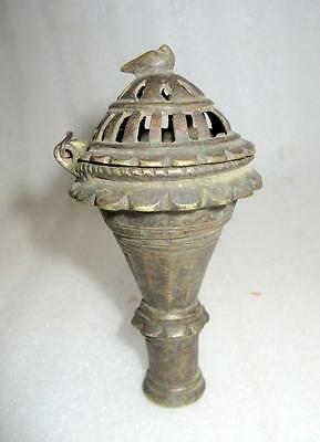 1850's Antique Old Hand Carved Brass Indian Smoking Cigar Chilam / Hukka Pipe