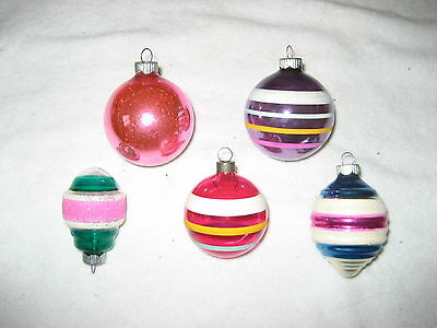 Five great vintage ornaments by Shiny Brite two unsilvered