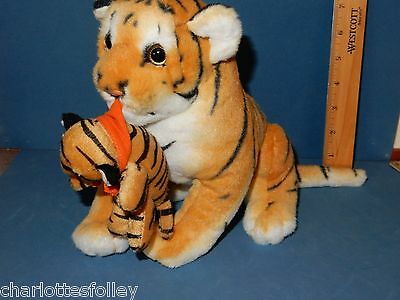 """BEAUTIFUL PLUSH TIGER  9"""" HIGH with BABY  CUB EXCELLENT stuffed toy cat"""