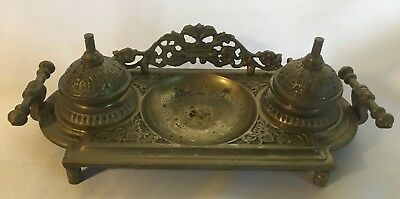 Vintage Brass Double Ink Well Metal Victorian Style Desk Office Decor