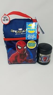 Marvel Spiderman Ins.Lunch Box Kit With Ice Pack EYES LIGHT UP And 10oz Food Jar