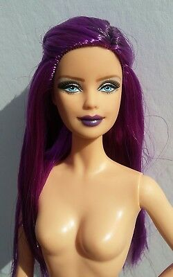OOAK Purple Repaint Reroot Model Muse Barbie Custom Long Hair Doll Punk Goth