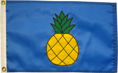 "Pineapple on French Blue Flag 12""x18"" - High Quality Hand Sewn in the USA"