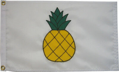 "Pineapple on White Flag 12""x18"" - High Quality Hand Sewn in the USA"