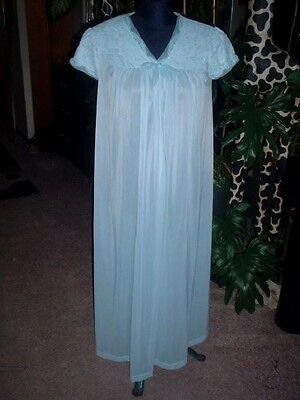 Vtg NIGHTGOWN Blue Long Gown Sissy Cute ST. MICHAEL 34/36