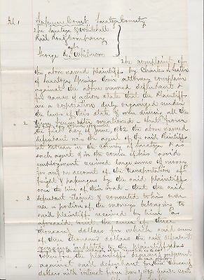 1862 Saratoga County Ny Law Suit - Saratoga & Whitehall Rr Co Against G Whitmore
