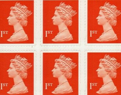 50 1st CLASS RED SECURITY STAMPS UNFRANKED WITH GUM