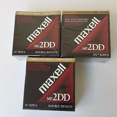 """30 Maxell MF 2DD Unformatted 3.5"""" Floppy Disks Double Sided Double Density New"""