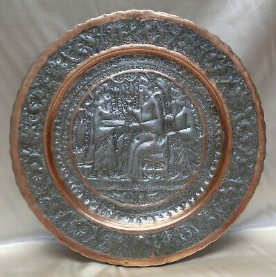Persian Vintage Copper Tray w. Hand Hammered King & Achaemenid Soldiers Scenery