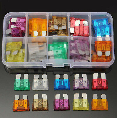 50pcs Mixed Medium Standard Car Auto Blade Fuse Assortment Kit Box 3A~40A Zinc