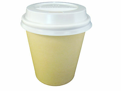 500 SETS 6oz Tan Single Wall Paper Coffee Cups And Lids 177ml Disposable