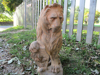 "Gorgeous Antique Terra Cotta Lion Statue Fleur De Lis 19"" Tall"