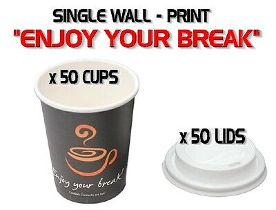 50 Sets x 8oz Single Wall 250ml Coffee Cups And Lids Print Disposable Tableware