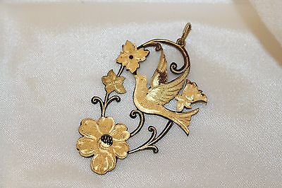 Rare VICTORIAN etched GOLD GILT on French cut Steel SPARROW & FLORAL Pendant