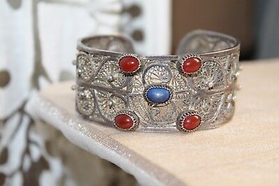 OLD 60g WIDE Cherry AMBER & Lapis STERLING Silver FILIGREE Cuff Bracelet
