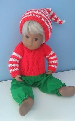 BJB Baby Sasha dolls clothes, Hand knit red and green Christmas Elf outfit 3pc