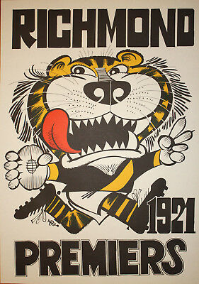 1921 Richmond Premiers Weg poster Tigers Premiership