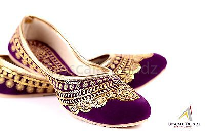 Purple Golden Design Shoe Women Flats Bridal Gift Wedding Bridesmaid Handmade