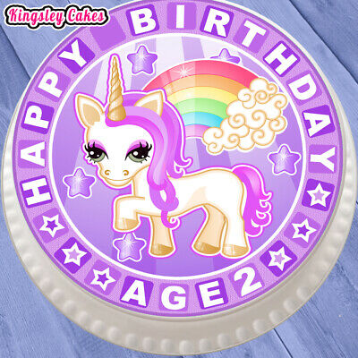 75 Inch Precut Edible Icing Cute Purple Unicorn 2Nd Birthday Cake Topper Urb021