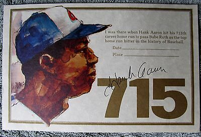 Hank Aaron Autographed 715th Home Run Certificate-In Person