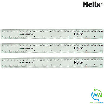 3 x HELIX 30cm Rulers CLEAR 300mm SHATTER RESISTANT School Exam Ruler Measuring