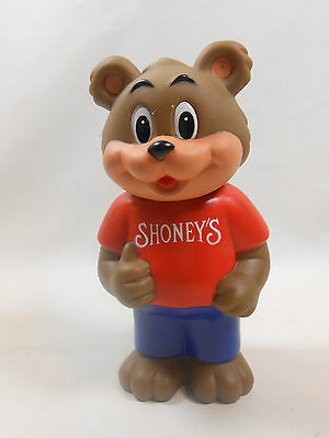 Vintage 1993 Shoney's  Restaurant Vinyl Bear Advertising Coin Bank
