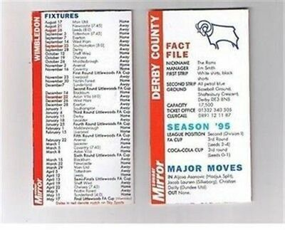 Sunday Mirror Fact File 1996 football fixture card - Derby County FC