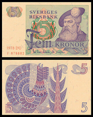 Sweden Schweden 5 Kronor 1977-1981 UNC BANKNOTE CURRENCY EUROPEAN