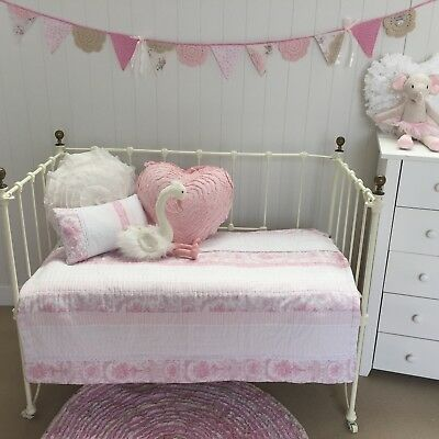 2 pce Juliet Pink Cot Quilt & Cushion Shabby Chic Baby Girl Nursery Comforter