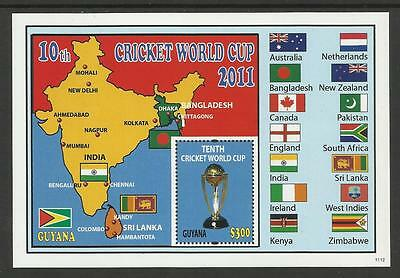 GUYANA 2011 ICC 10th CRICKET WORLD CUP FLAGS MAP Souvenir Sheet MNH
