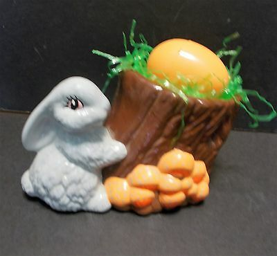 Vintage Ceramic Bunny Rabbit Planter Mushrooms Tree Stump Easter Spring Decor