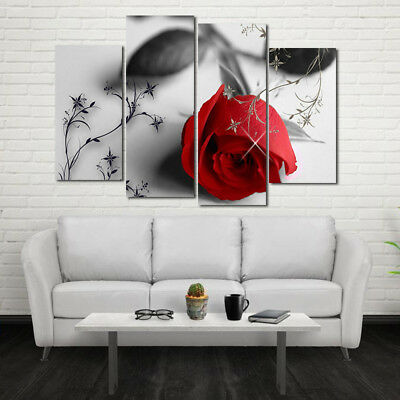 Red Rose Flower Oil Painting Print Canvas Picture Bedroom Living Room Wall Decor