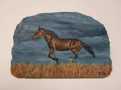 Horse Galloping hand painted on slate by Ann Kelly
