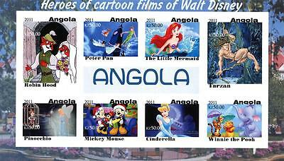 Angola 2011 4 Sheets Imperf Mng Disney