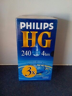 PHILLIPS HG 240/ 4 HOURS BLANK VIDEO TAPE BLANK VHS SEALED.3 Pack .Brand NEW....