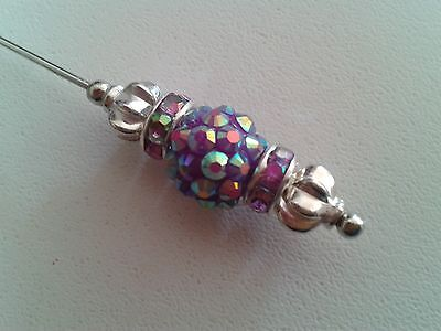 """Pretty long sparkly violet & silver hat pin with clutch """"Handmade by Helen"""""""