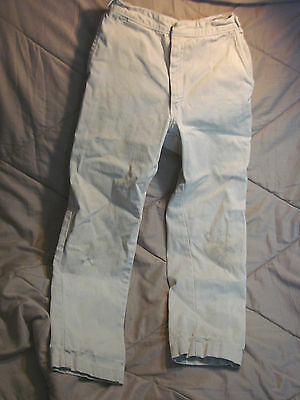 Vintage 60s Childs  Jeans Off White WORN Stains 6 long cotton Adjustable Waist