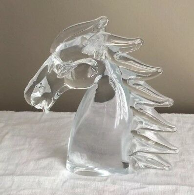 Horse Head Crystal Glass Figurine Sculpture Murano Style Vintage