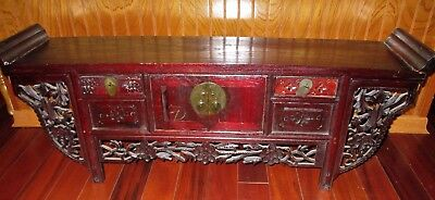 Antique Chinese Wood Carved Altar Table Shrine Cabinet Ornate Small Pierce stand