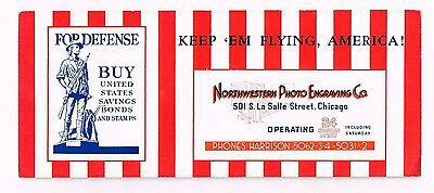 Keep America Flying For Defense Northwestern Photo Engraving Ink Blotter