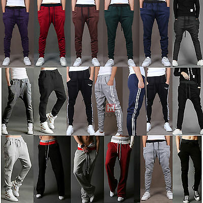 Men's Sports Slim Cuff Skinny Harem Taper Sweats Gym Jogger Track Pants Trousers