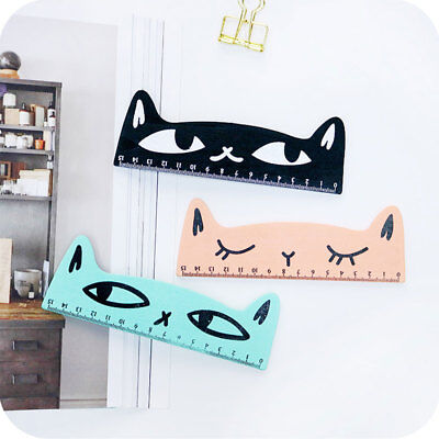 1X Cute Kawaii Lovely Cat Wooden Straight Ruler Study Drawing Tool for Students