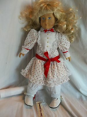 Elizabeth Timberline Hand carved Wood Blonde Hair Painted Face Blue doll/1989