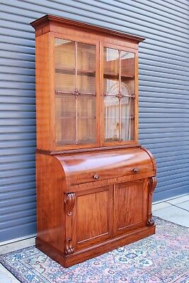 Victorian Large Cylinder fronted bureau bookcase.