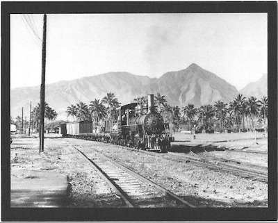 "KAHULUI RAILROAD CO. ENGINE #12 1930s?  BLACK & WHITE PHOTOGRAPH ON 8X10"" MATT"