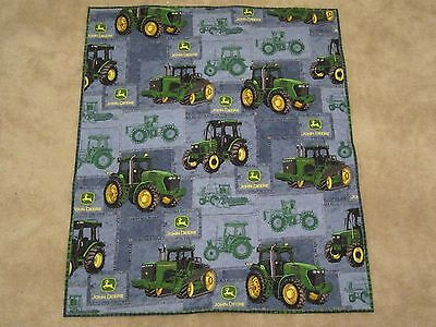 John Deere Tractor Farm Little Baby Boy Quilt Blanket Blue Green Handmade